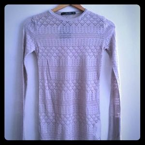 Zara Knit Pullover Top Sweater Taupe Small